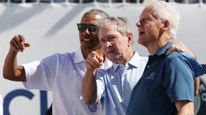 Video: Bush, Obama y Clinton gozan del golf sin Trump