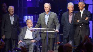 Cinco expresidentes participan en concierto benéfico